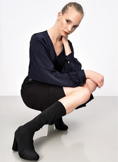 D by Divarese Kalın Topuklu Çizme Siyah